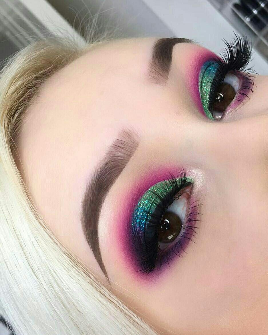 Pink Green On Pinterest: Fun Pink-purple And Green Dramatic Eyeshadow Look For