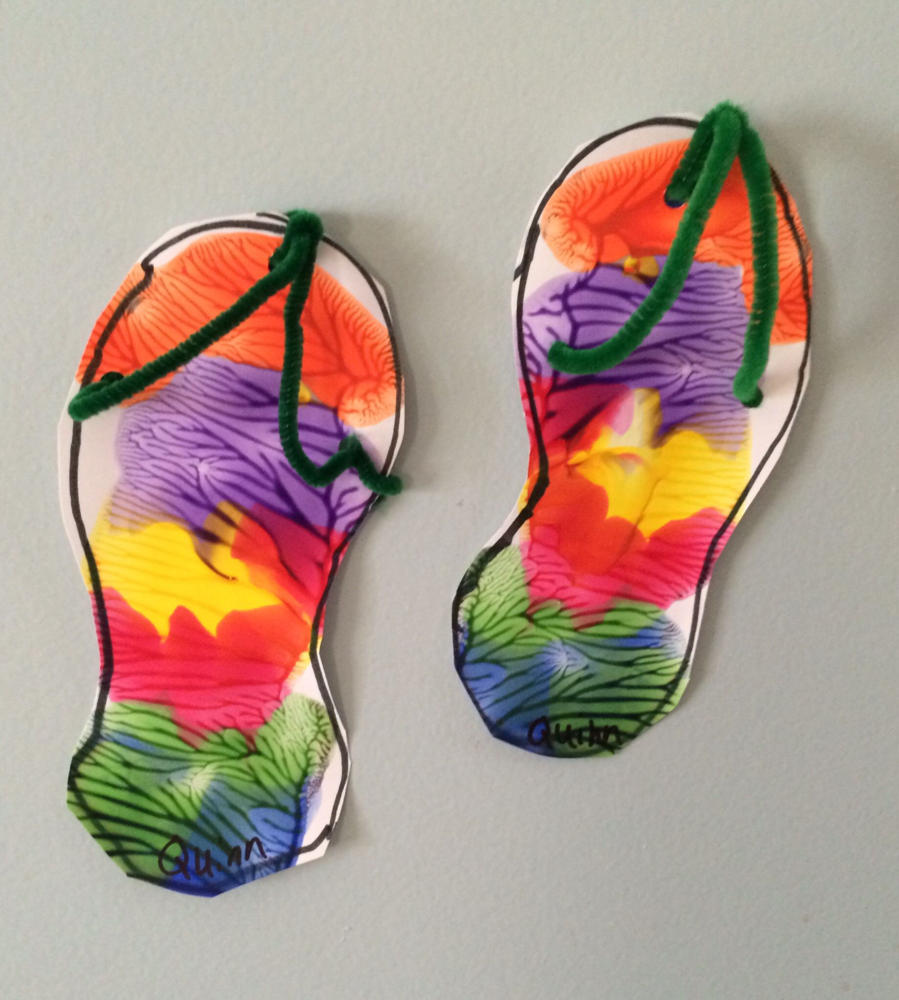 9fb42c020915 Flip flop craft. Trace both feet on one paper. Have child put blobs of  paint around one foot. Fold in half