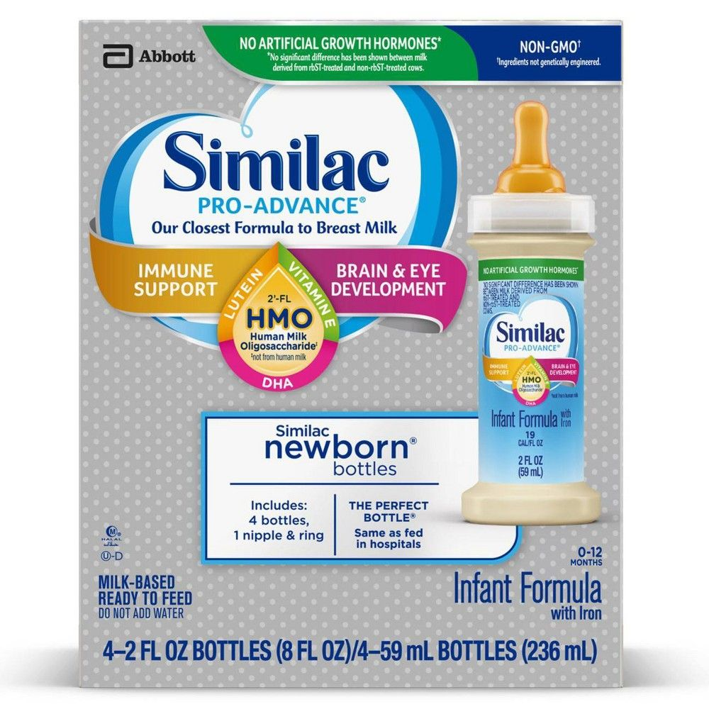 Alimentum Ready To Feed 2 Oz similac pro-advance non-gmo infant formula with iron bottles