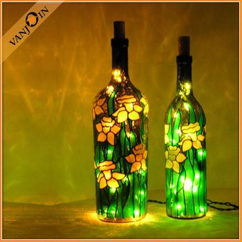 Diy Faux Stained Glass Bottles Led Decorate Bottle Glass Bottle Crafts Bottle Painting Painted Wine Bottles