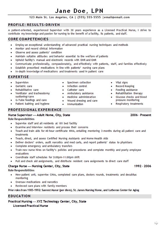 Nurse LPN Resume Example  Resume Examples  Pinterest