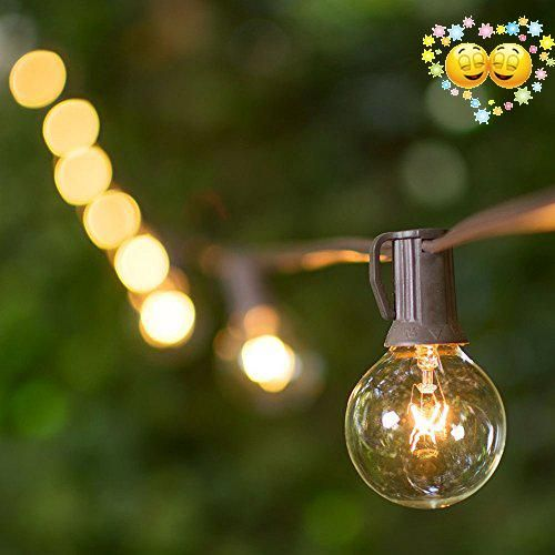 Globe String Lights, 1.5 Inch E12 G40 Bulbs, 100 Foot Brown Wire C7 Strand,  Outdoor Indoor, Fused, Glass Incandescent Bulbs, Cafe Patio Globe Strand,  ...