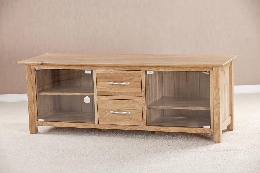 Milano Solid Oak 2 Door 2 Drawer Large Glass Tv Unit Tv Units And