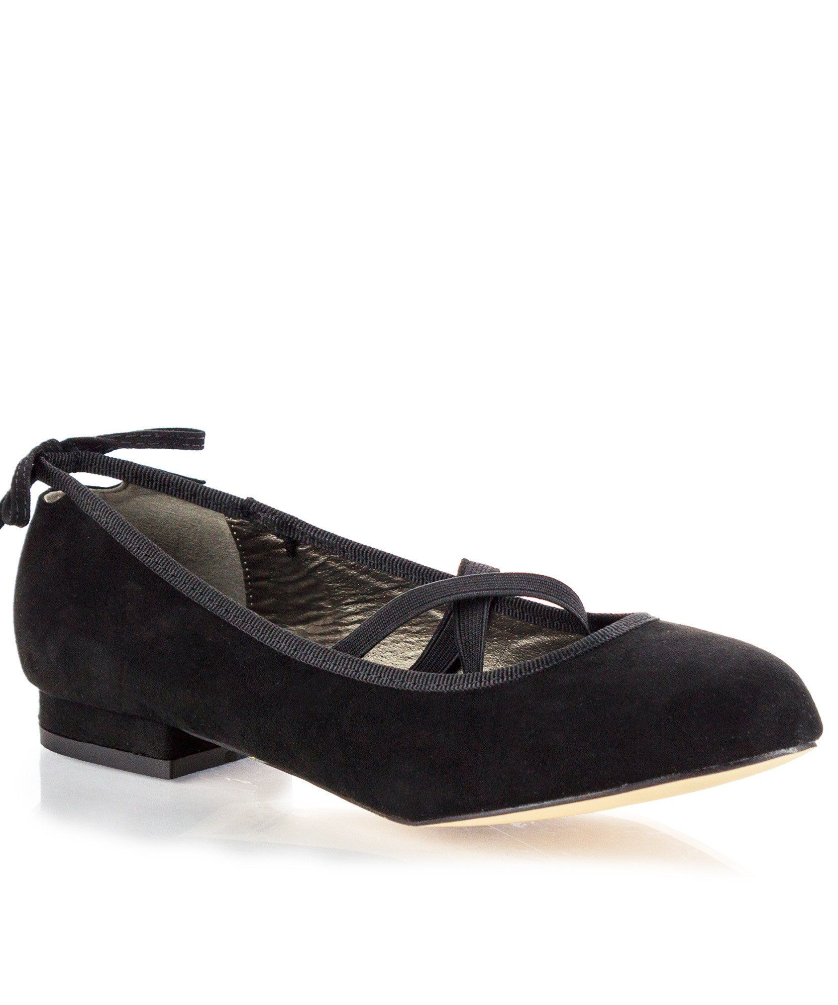 8a5646763 ROF Anna-21 Criss Cross Mary Jane Back Bow Decor Ballet Flats in Black Suede
