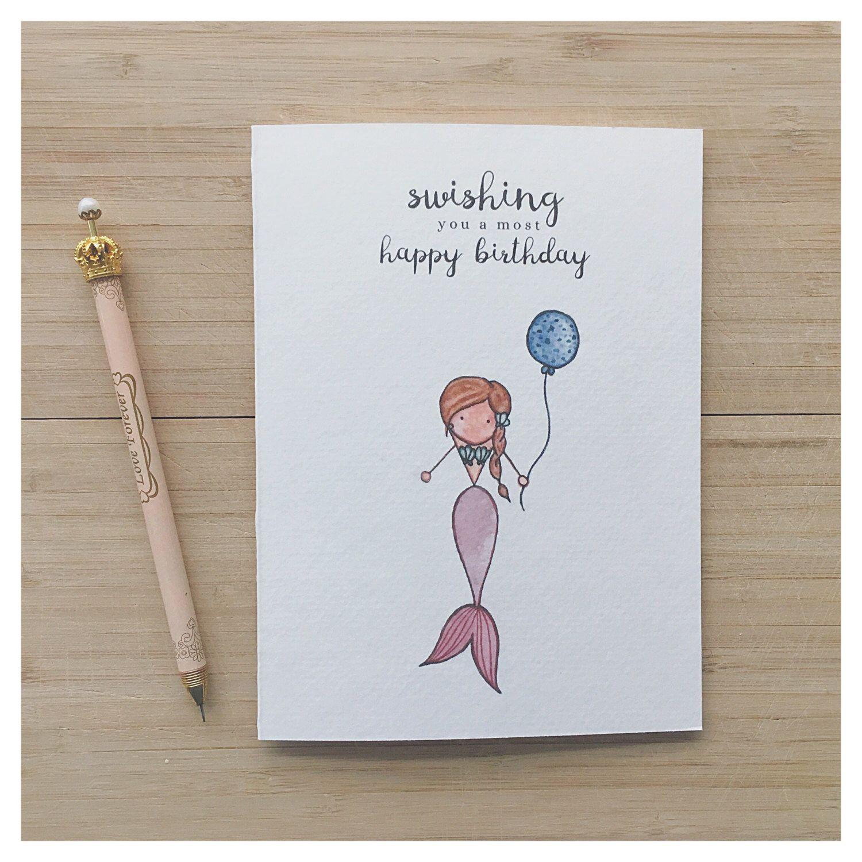 Mermaid Birthday Card Watercolour