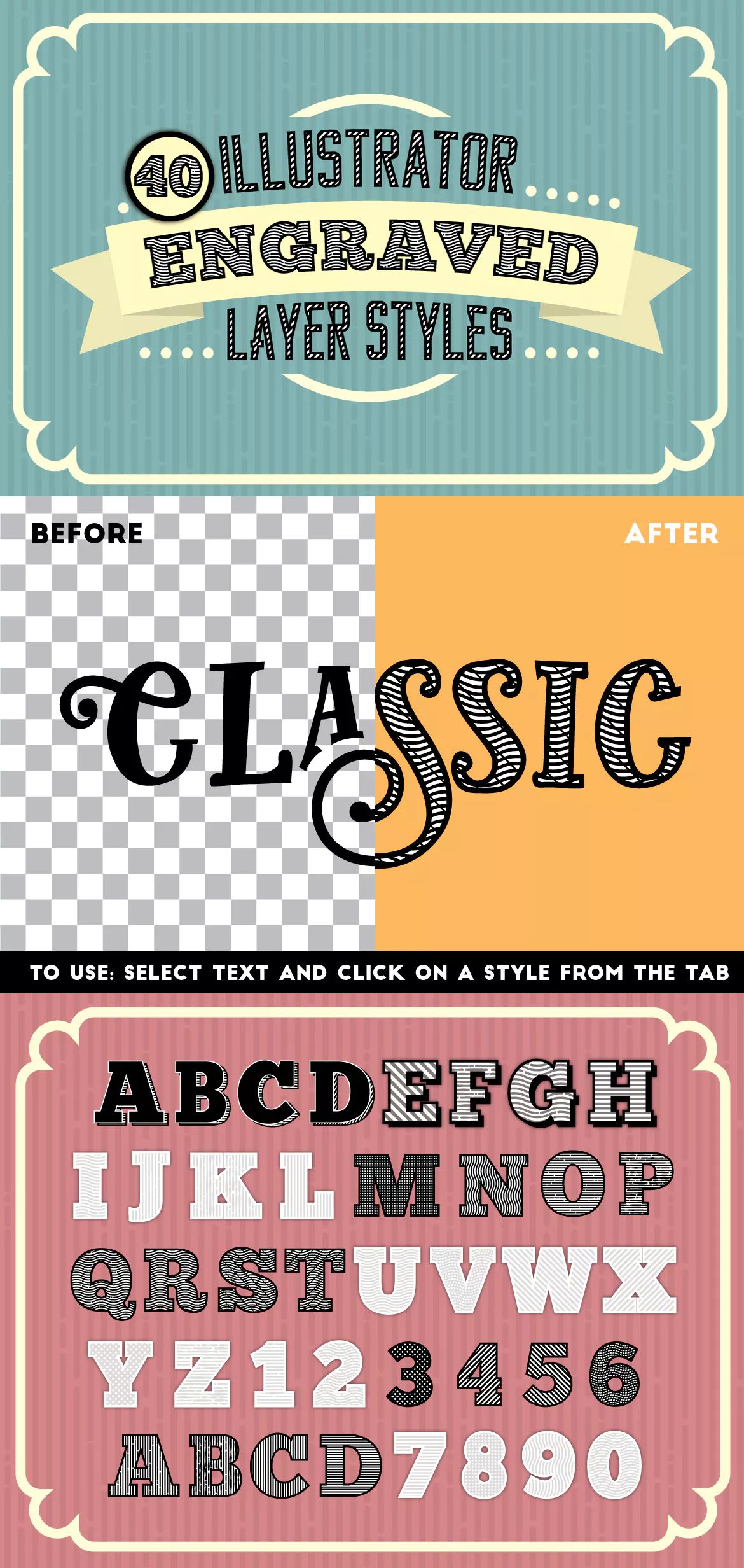 Engraved Vector Text Styles for Adobe Illustrator Text
