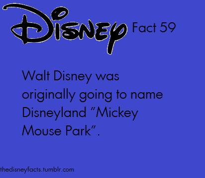 "Disney Fact #59- Walt Disney was originally going to name Disneyland ""Mickey Mouse Park""."