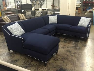 Swell A 3 Piece Dark Blue Sectional With Large Nail Head Trim Short Links Chair Design For Home Short Linksinfo