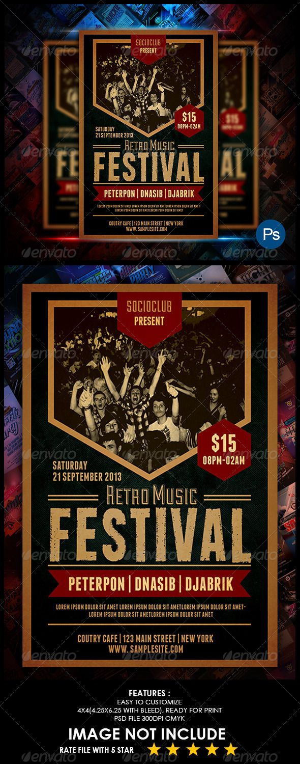 Music Event Retro Flyer — Photoshop PSD #freedom #performance • Available here →…