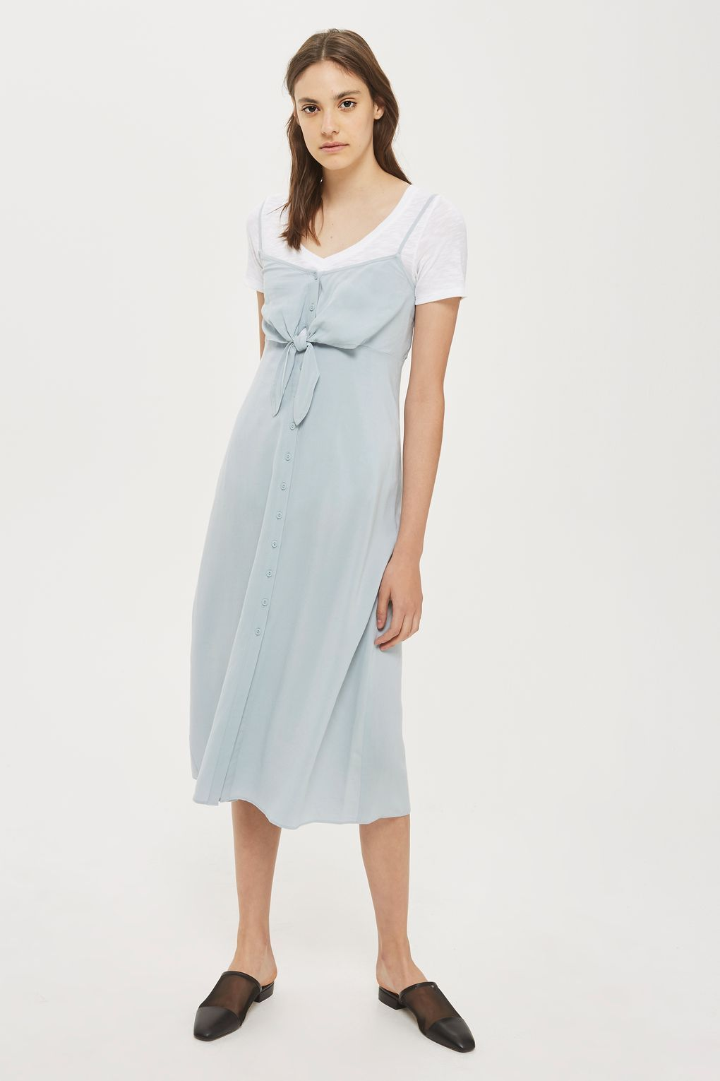Spring cool is best done with layering and this pale blue midi slip dress da3d51a2e