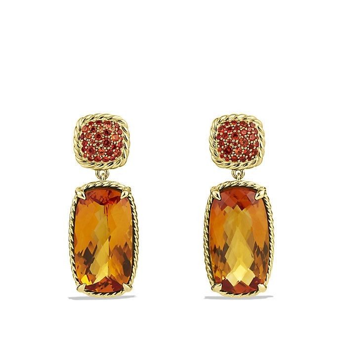 Claine Drop Earrings With Madeira Citrine And Orange Shires In Gold