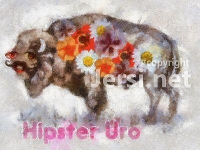 Hipster Uro - вольная иллюстрация зубра