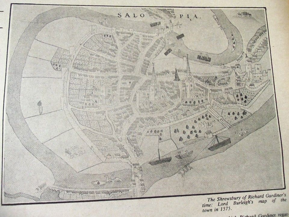 Map of Shrewsbury, again from 1575. More big swans. | Maps ...