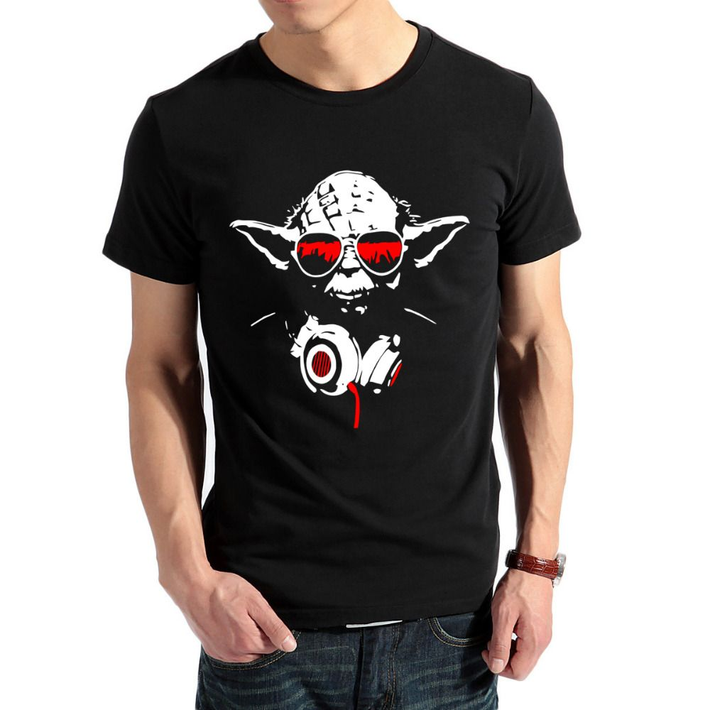 Men Summer Short Sleeve T Shirts Cool Dj Yoda Star Wars Funny T ...
