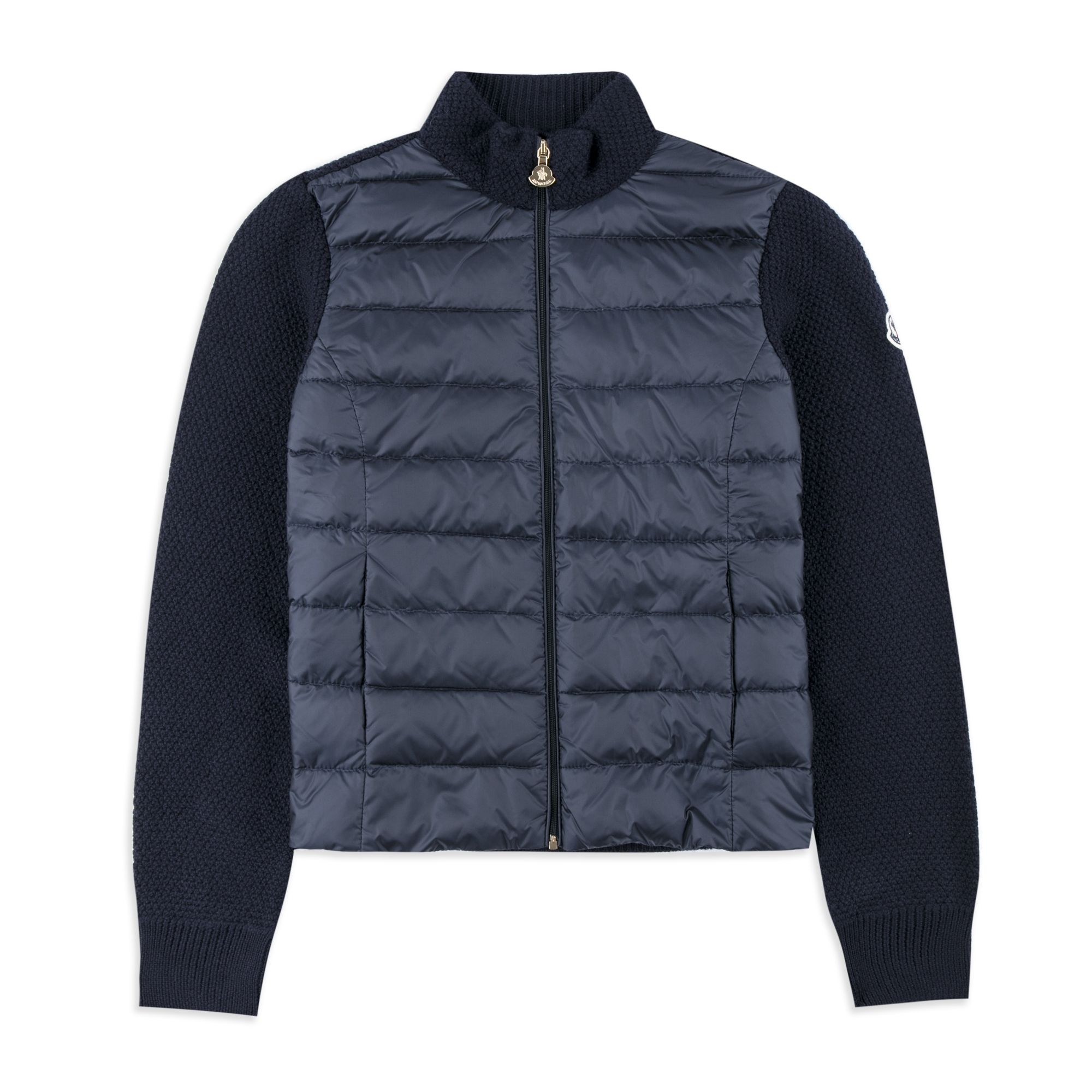 Girls Down Padded Zip Sweater - Navy by Moncler | Girls Sweaters | Base  Fashion