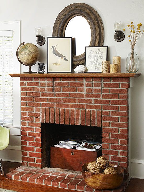 Pin By Daniel Rosselot On For The Home Red Brick Fireplaces