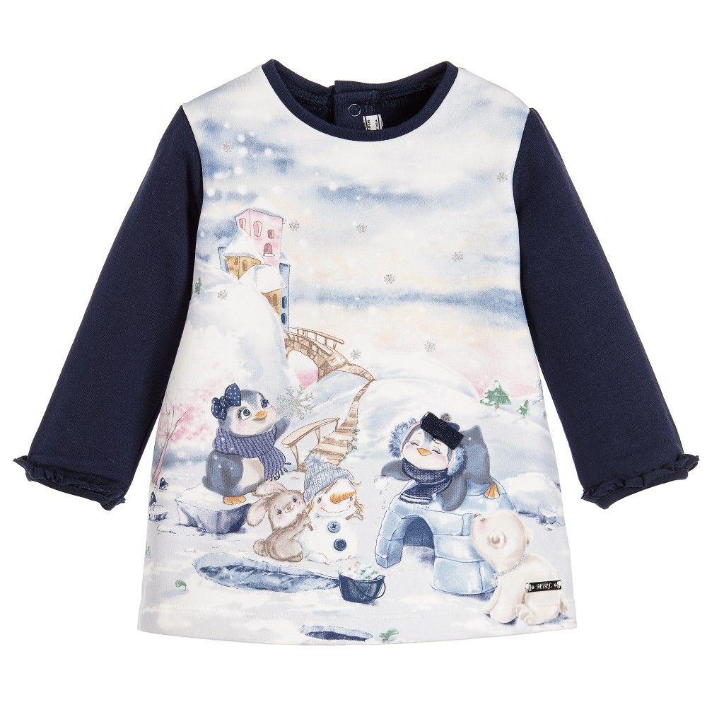 Mayoral Chic - Baby Girls Navy Blue Cotton Dress with Penguins ... c18e85543b