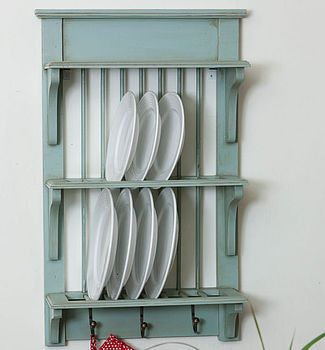 Wooden Painted Plate Rack Wall Unit & Wooden Painted Plate Rack Wall Unit | Plate racks Shelves and Walls