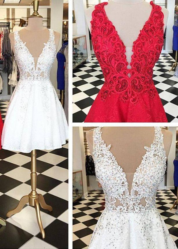 26ff9a3b5f1 Stylish V-neck Sleeveless White Lace Short Homecoming Dress Beaded ...