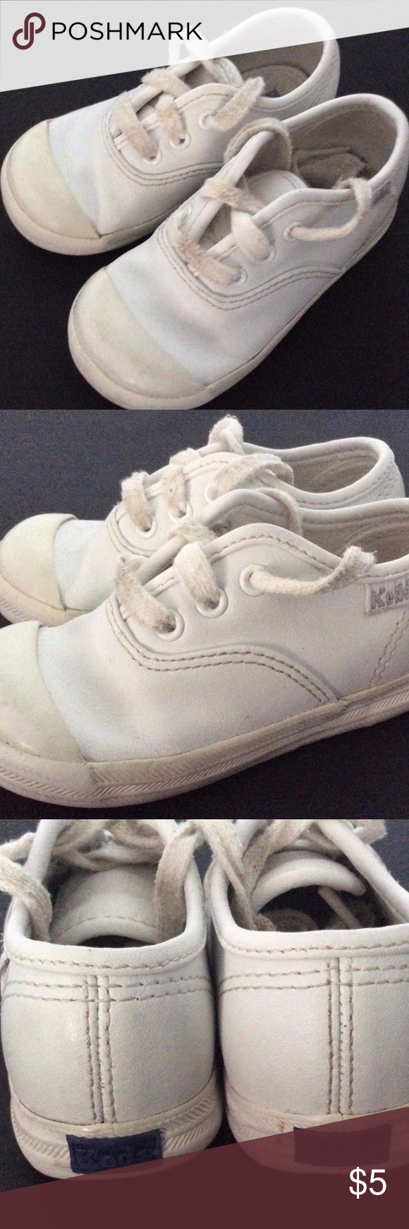 KEDS Girls Size US 6 Wide White Leather