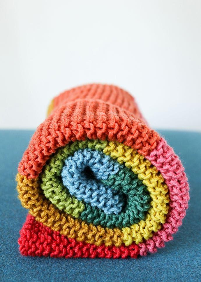 Rainbow Baby Blanket Knitting Pattern | My Poppet Makes in ...