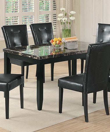 Black Faux-Marble Dining Table Faux marble dining table, Marble