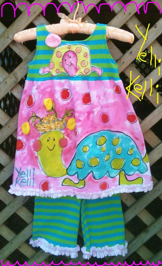 Silly Turtles Girls Two Piece Set Hand Painted Ready by YelliKelli, $50.00