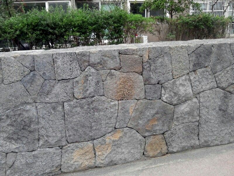 Black Basalt Stone Wall : Stone wall from basalt construction by