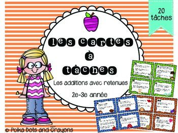 These French task cards are a great addition to your centres or addition unit. The additions require regrouping. Please see preview to see all questions included.Ideal for Grade 2 and 3 French. Includes student answer sheet and teacher answer sheet.These cards are great for those early finishers as well!Please visit my store for other French products Polka Dots and Crayons