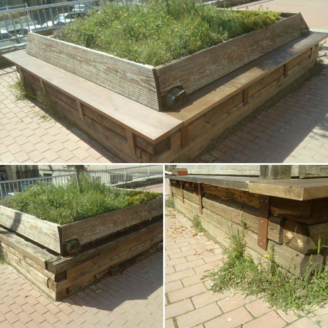 Restauració banc jardinera de fusta
