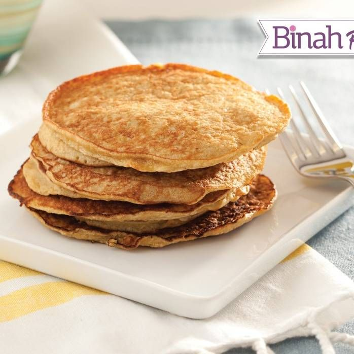 """These Vanilla """"Cheese"""" Pancakes have all the delicious creaminess of milchigs without the cheese! Our kids love them as bite-sized latkes, but they taste great as larger pancakes as well! And the leftovers make a wonderful packed lunch the next day. #kosher 