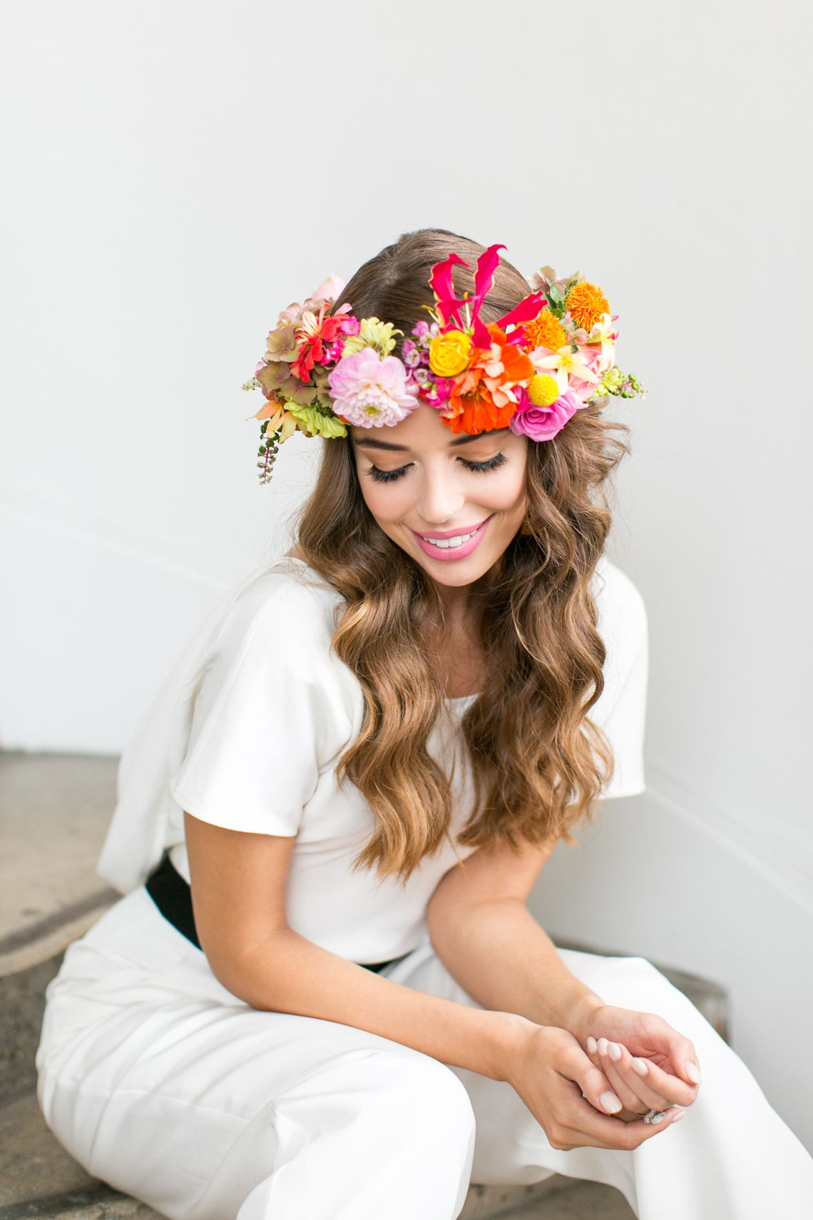 Tropical punch a diy bridal brunch with cricut flowers in her house of ollichon bridal jumpsuit teamed perfectly with a bright floral crown perfect festival wedding vibes festivalwedding alternativeweddingdress izmirmasajfo