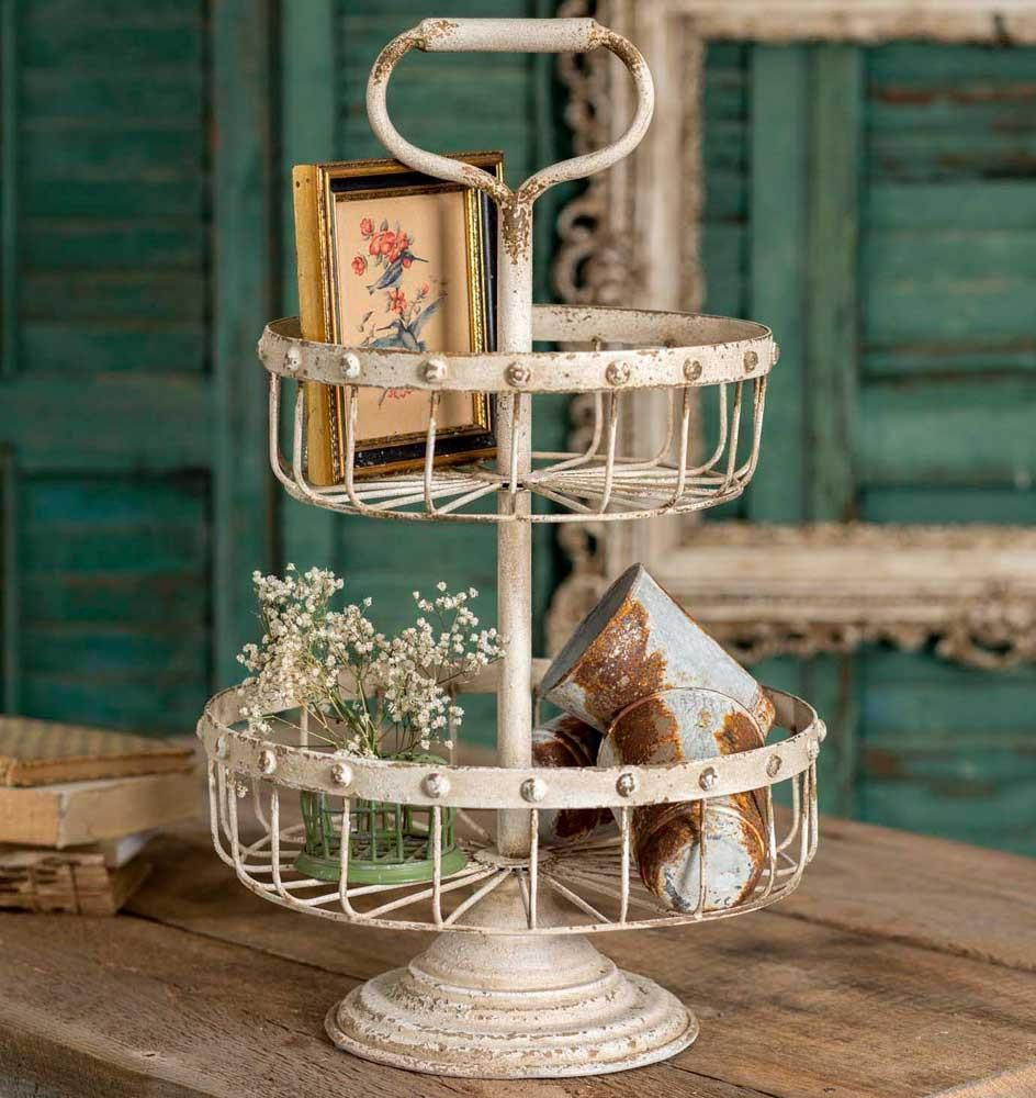 Ella two tiered wire basket with handle shabby chic