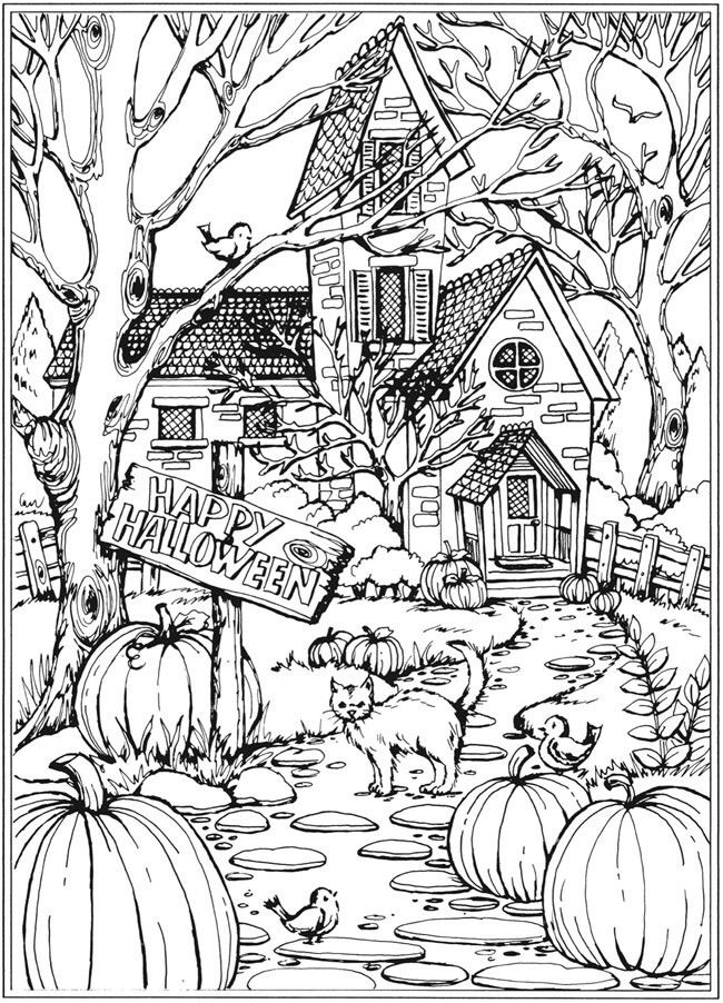 fall halloween coloring pages free | Pin by Samantha Chew on * Coloring Pages | Fall coloring ...