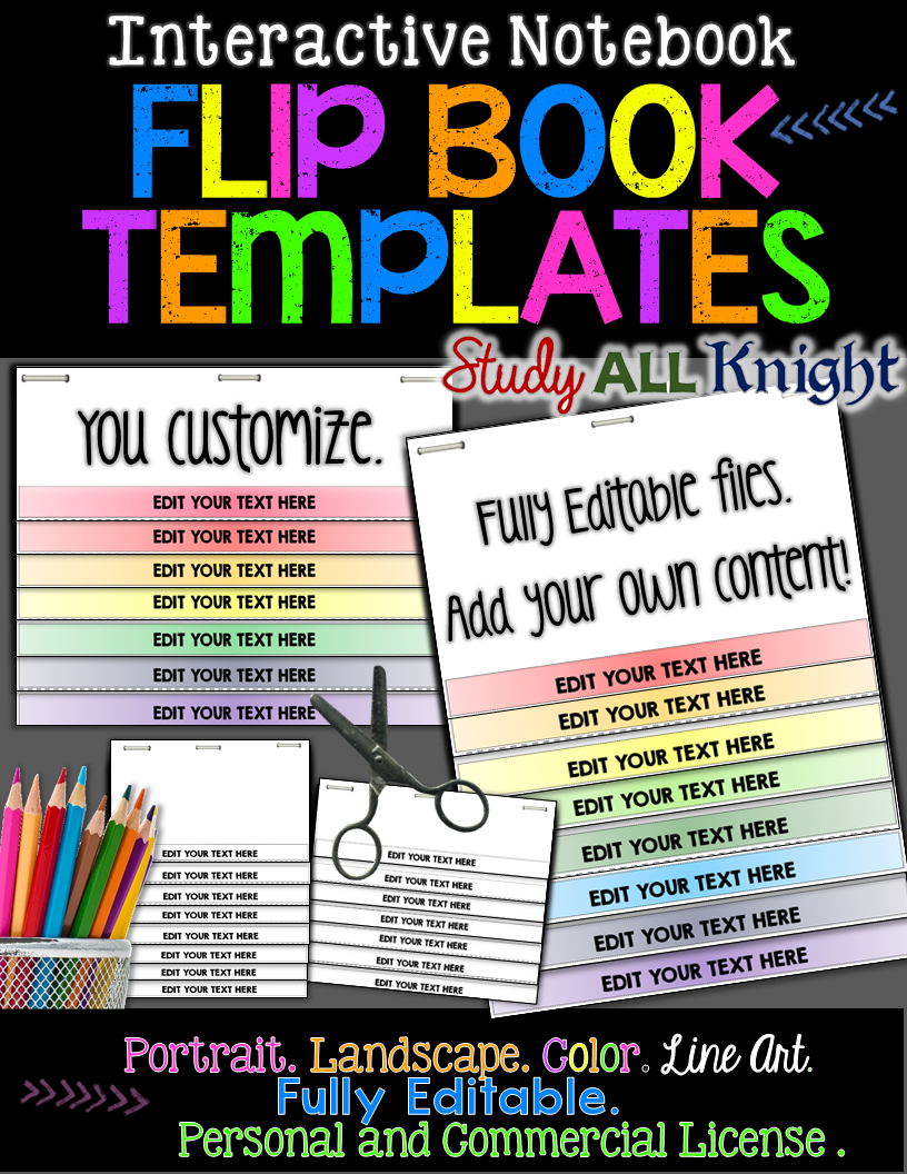 Fully Editable Color Line Art You Customize Add Your Own Content Flip Book Template For Interactive No Notebook How To Cite A Chapter Apa 7th Edition