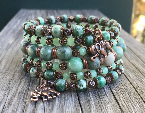 Tree Agate Gemstone and Copper Multi Strand Memory Wire Bracelet with Detailed Elephant Charms