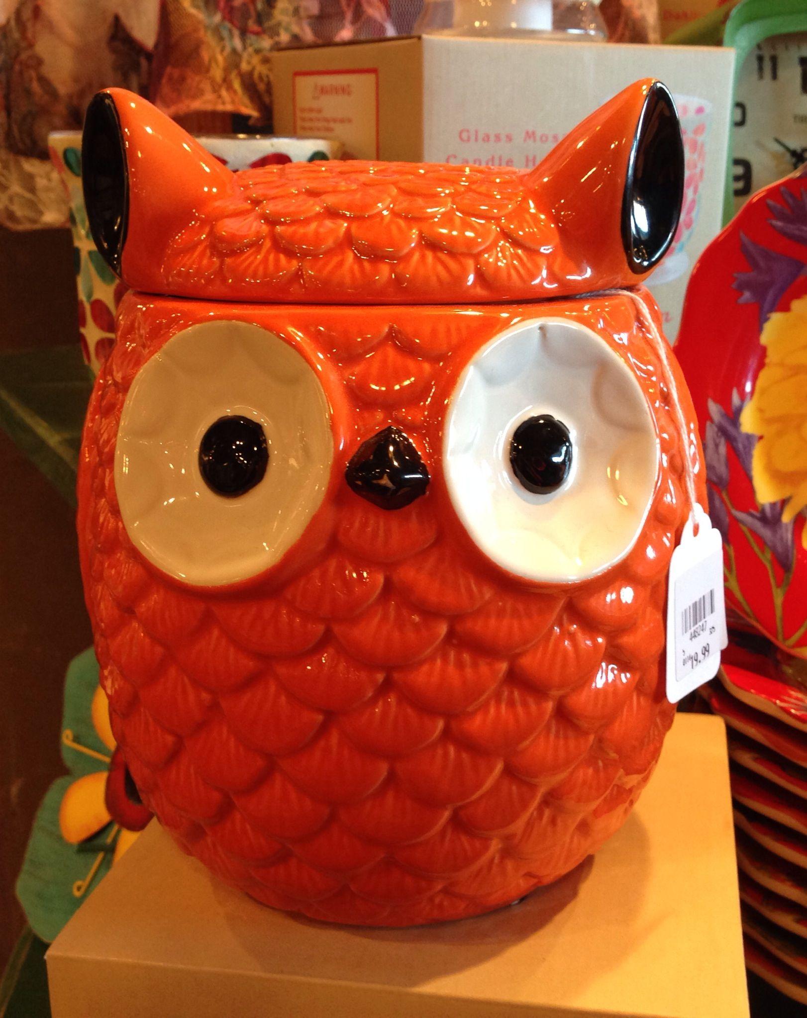 Owl Cookie Jar Orange Er Barrel Found Him At Breakfast A Few Weeks Ago