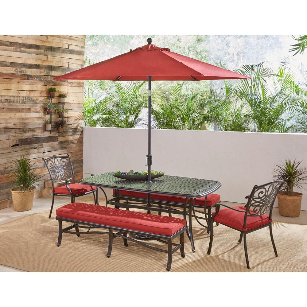 Hanover Traditions 5 Piece Aluminum Outdoor Patio Dining Set With