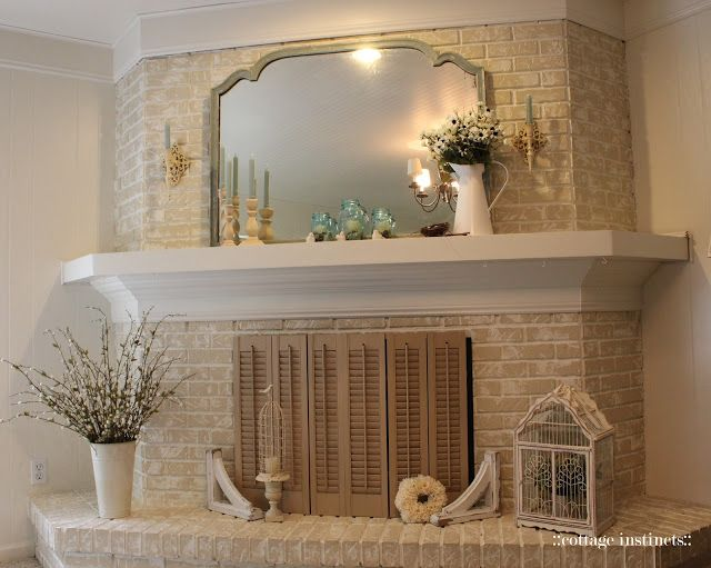 White Washed Brick Fireplace With White Wood Mantle House Projects For When I Finally Buy