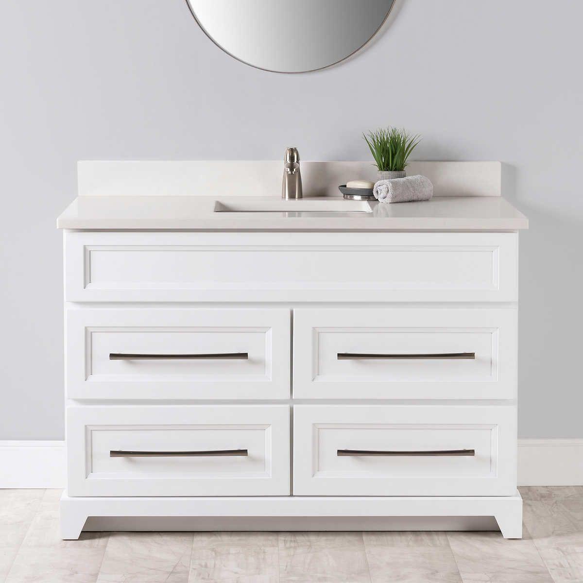 VanGo 48 In. Hampton Collection White Vanity Quartz