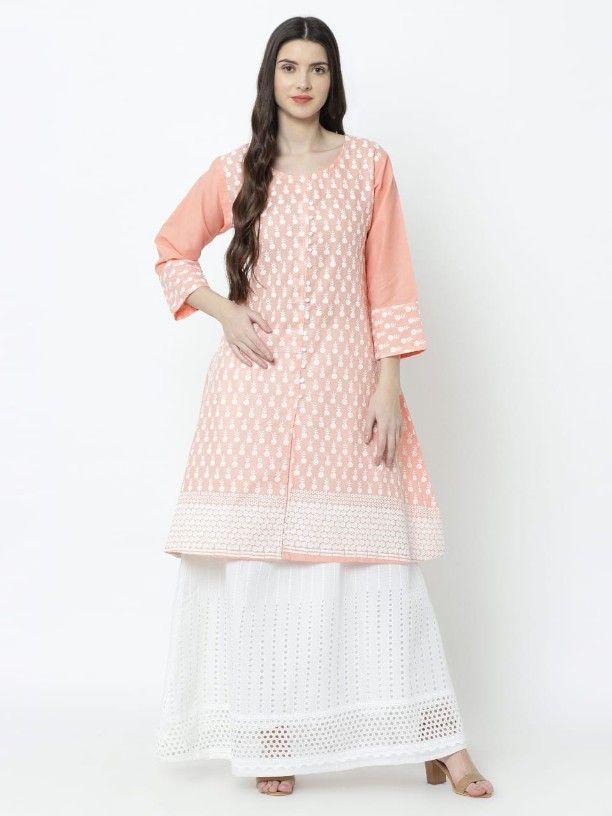 Stylish Cotton Chikankari Work Kurta With Skirt