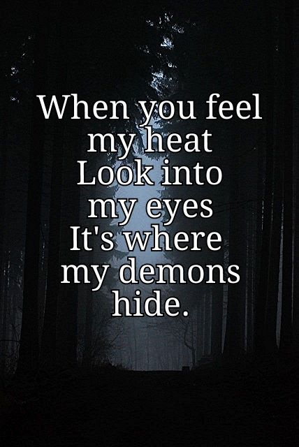 When You Feel My Heat Look Into My Eyes Its Where My Demons Hide