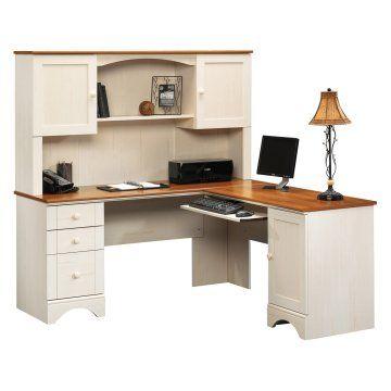 Office Desk Sauder Harbor View Corner Computer With Hutch Antiqued White