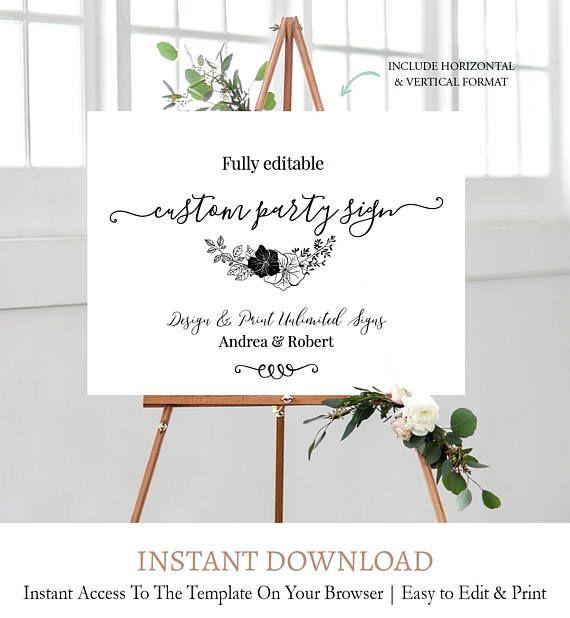 Floral Laurel Wedding Sign Template, Fully Editable Wedding Sign ...