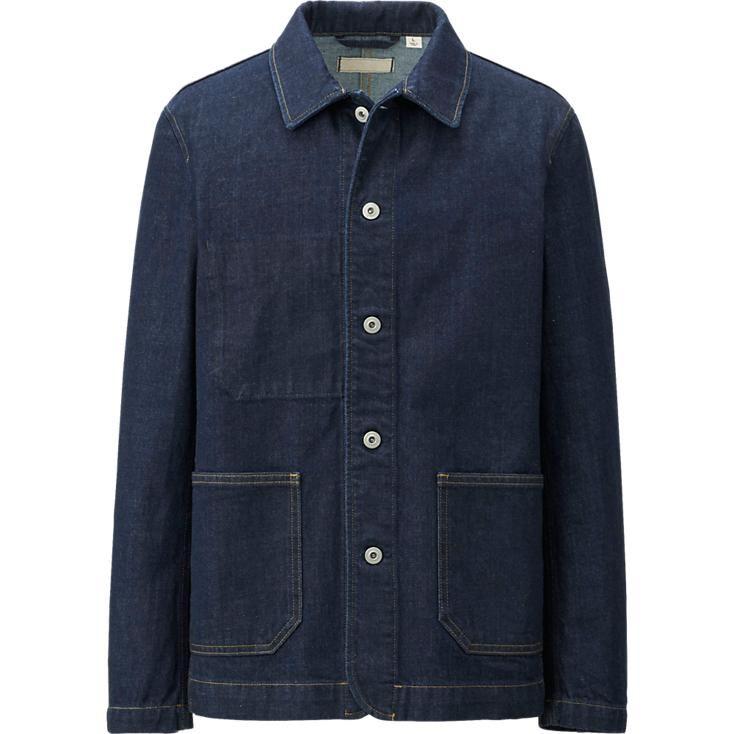 MEN PURE BLUE JAPAN DENIM WORK JACKET | Denim & Brown Leather ...