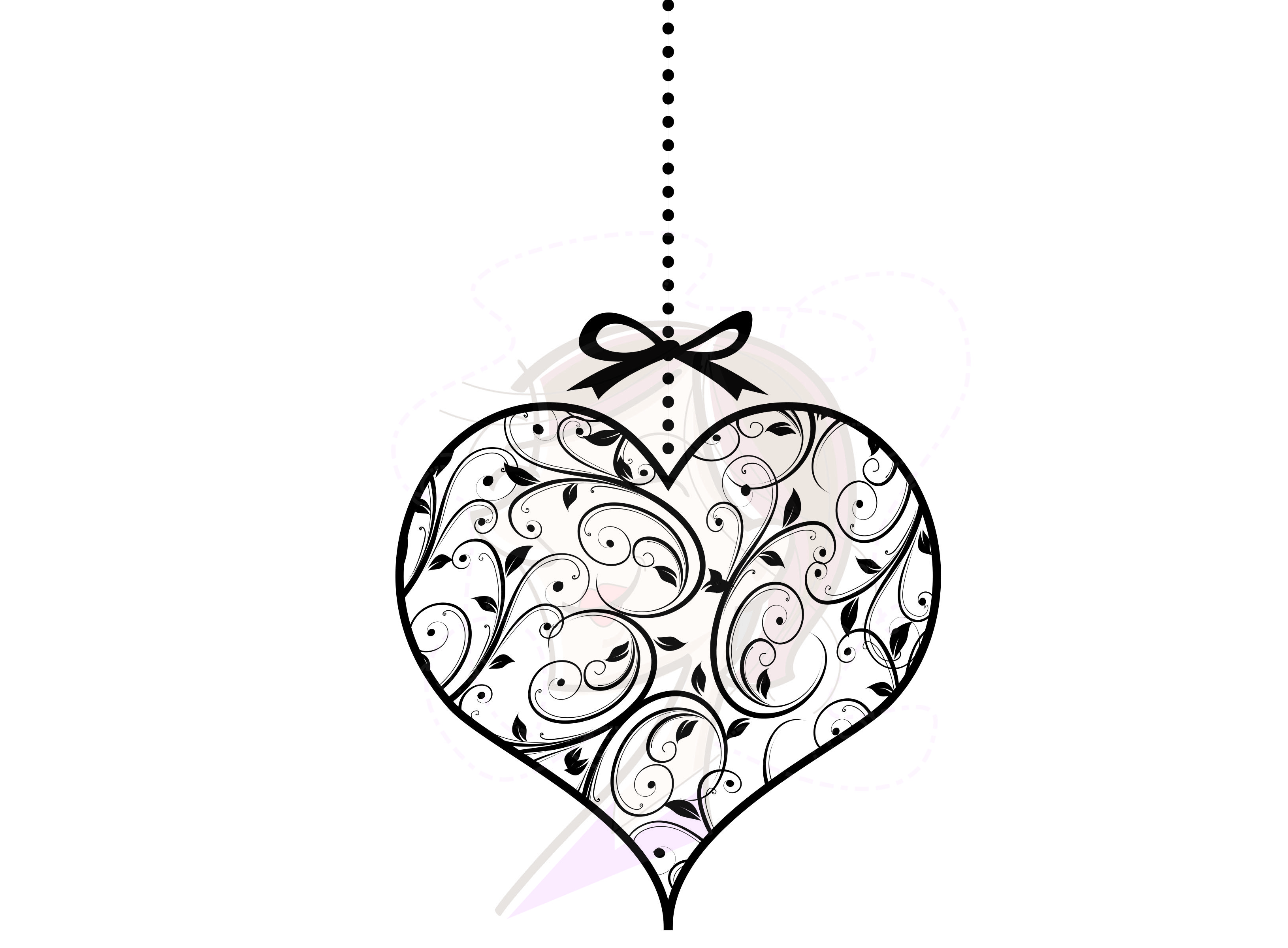 floral leaf swirls hanging hearts ornaments with bow set of 7