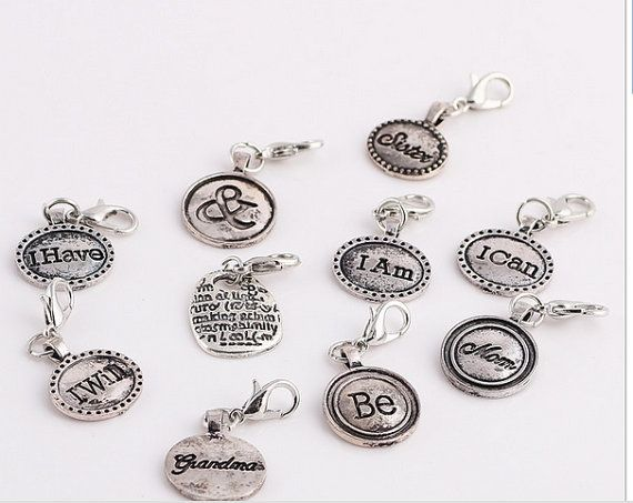 Letters, Words, Clip on Charms, Fits Floating and Glass lockets, Dangle Pendant,  Charms Findings DIY Bracelet, Metal, Floating Charms