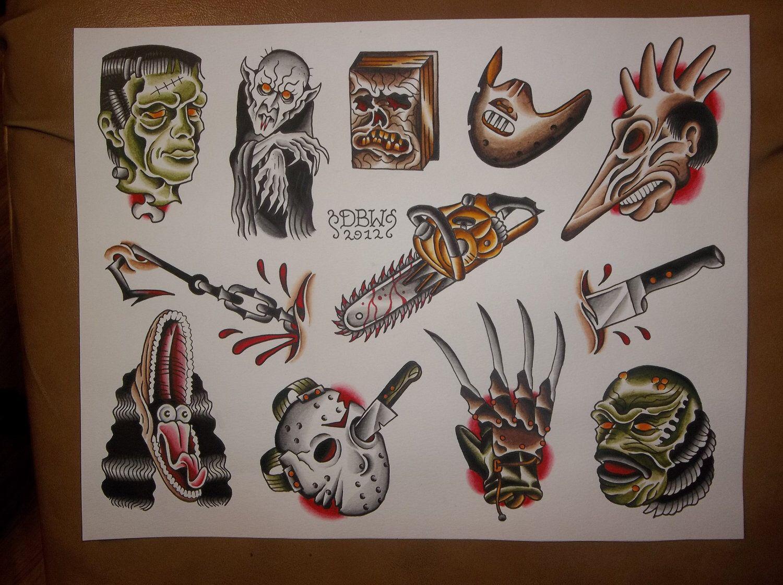 Horror Traditional Tattoo Flash Sheet Traditional Tattoo Flash Sheets Movie Tattoos Tattoo Flash Sheet