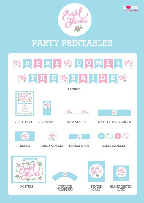 free bridal shower party printables with editable invitations bridalshower freeprintables