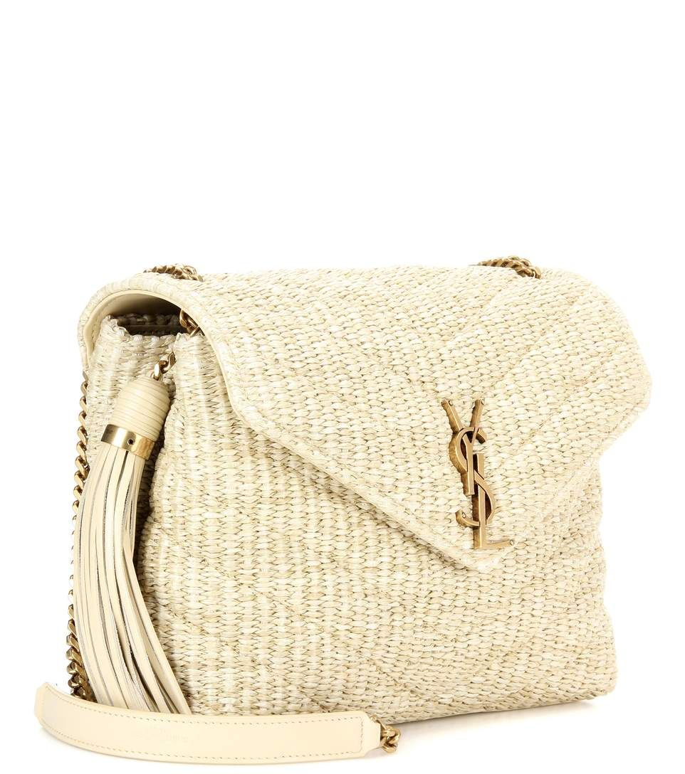 5cc69eb4c1d1 Saint Laurent - Monogram Small Soft raffia shoulder bag